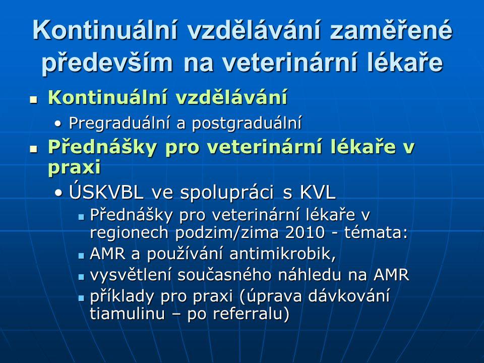 Kontinuální vzdělávání zaměřené především na veterinární lékaře Kontinuální vzdělávání Kontinuální vzdělávání Pregraduální a postgraduálníPregraduální a postgraduální Přednášky pro veterinární lékaře v praxi Přednášky pro veterinární lékaře v praxi ÚSKVBL ve spolupráci s KVLÚSKVBL ve spolupráci s KVL Přednášky pro veterinární lékaře v regionech podzim/zima 2010 - témata: Přednášky pro veterinární lékaře v regionech podzim/zima 2010 - témata: AMR a používání antimikrobik, AMR a používání antimikrobik, vysvětlení současného náhledu na AMR vysvětlení současného náhledu na AMR příklady pro praxi (úprava dávkování tiamulinu – po referralu) příklady pro praxi (úprava dávkování tiamulinu – po referralu)
