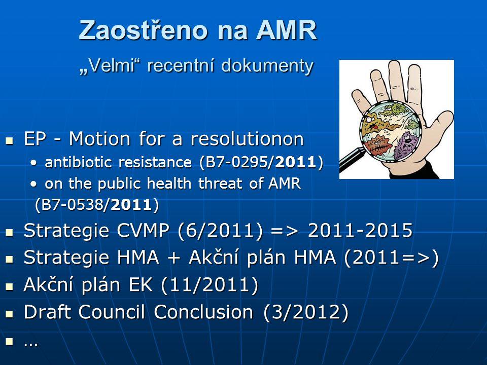 """Zaostřeno na AMR """" Velmi recentní dokumenty EP - Motion for a resolution on EP - Motion for a resolution on antibiotic resistance (B7-0295/2011) on the public health threat of AMR (B7-0538/2011) Strategie CVMP (6/2011) => 2011-2015 Strategie CVMP (6/2011) => 2011-2015 Strategie HMA + Akční plán HMA (2011=>) Strategie HMA + Akční plán HMA (2011=>) Akční plán EK (11/2011) Akční plán EK (11/2011) Draft Council Conclusion (3/2012) Draft Council Conclusion (3/2012) …"""