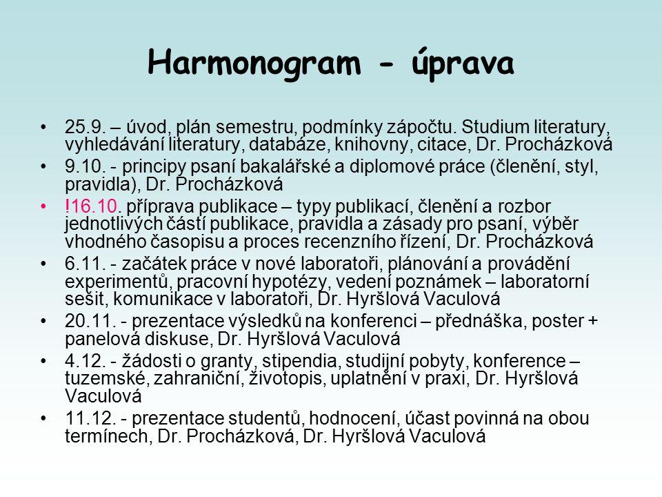 Harmonogram - úprava 25.9. – úvod, plán semestru, podmínky zápočtu.