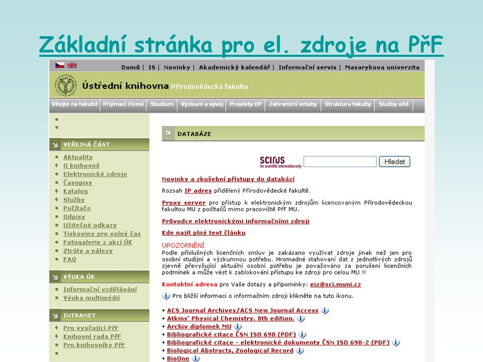 Základní stránka pro el. zdroje na PřF