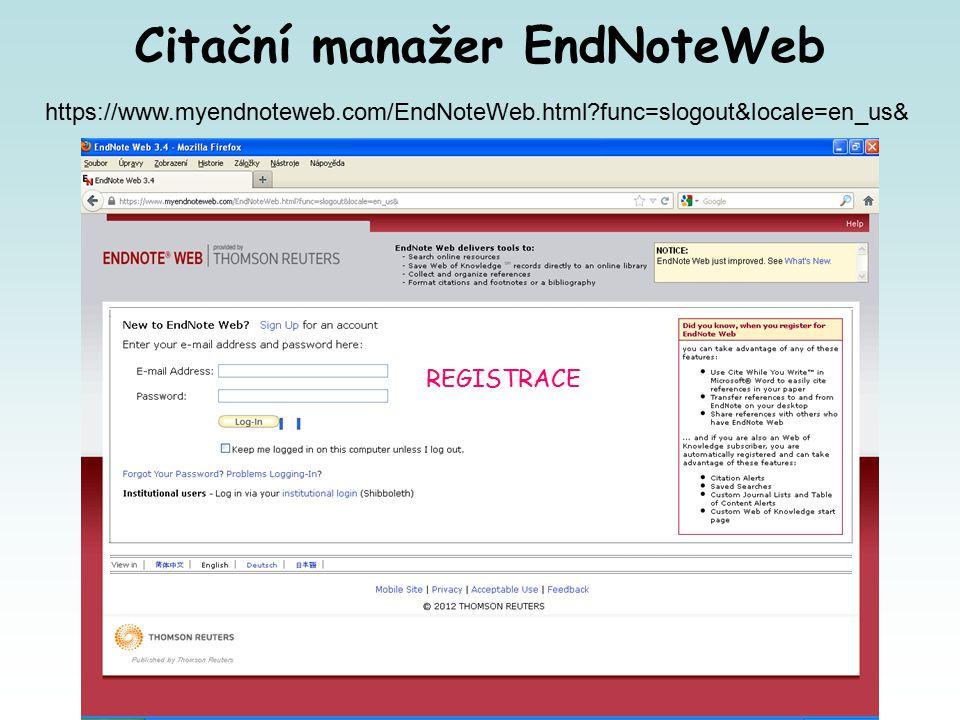 https://www.myendnoteweb.com/EndNoteWeb.html func=slogout&locale=en_us& Citační manažer EndNoteWeb REGISTRACE
