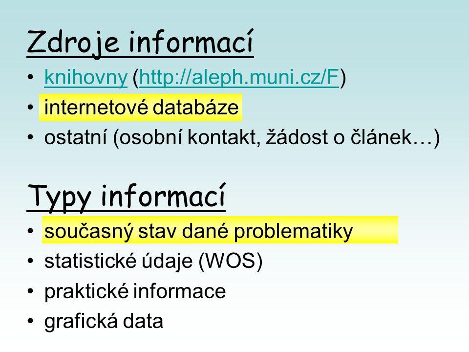 Zdroje informací knihovny (http://aleph.muni.cz/F)knihovnyhttp://aleph.muni.cz/F internetové databáze ostatní (osobní kontakt, žádost o článek…) Typy informací současný stav dané problematiky statistické údaje (WOS) praktické informace grafická data