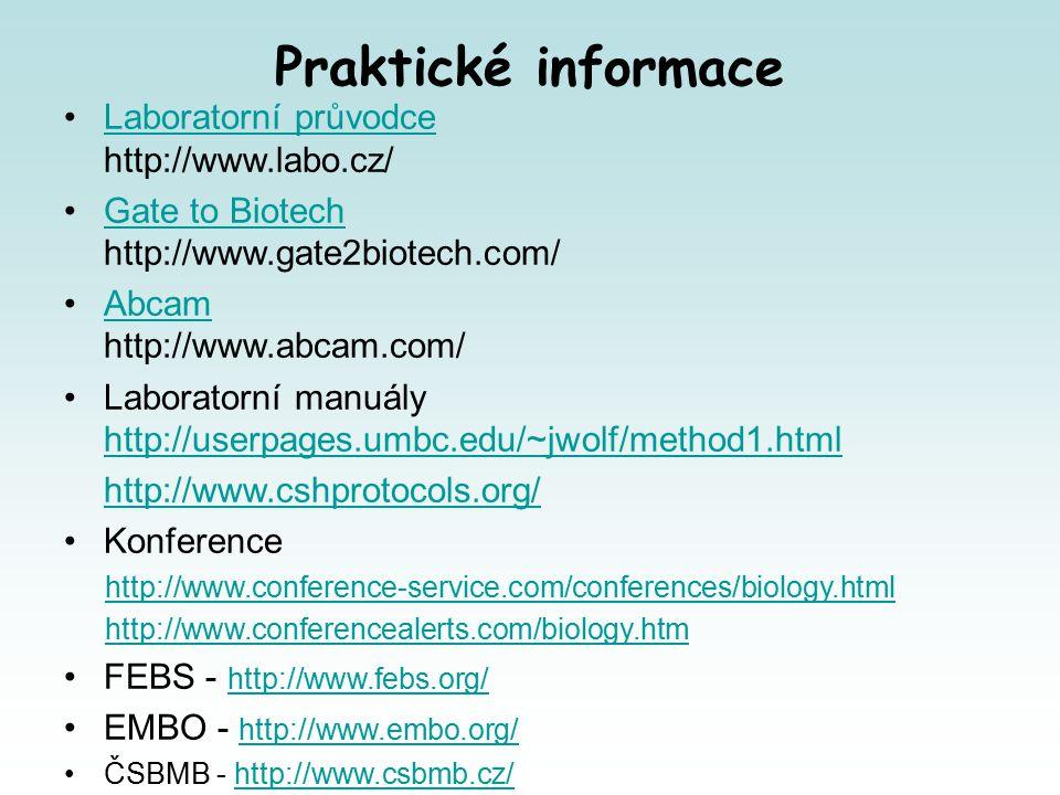 Praktické informace Laboratorní průvodce http://www.labo.cz/Laboratorní průvodce Gate to Biotech http://www.gate2biotech.com/Gate to Biotech Abcam http://www.abcam.com/Abcam Laboratorní manuály http://userpages.umbc.edu/~jwolf/method1.html http://userpages.umbc.edu/~jwolf/method1.html http://www.cshprotocols.org/ Konference http://www.conference-service.com/conferences/biology.html http://www.conferencealerts.com/biology.htm FEBS - http://www.febs.org/ http://www.febs.org/ EMBO - http://www.embo.org/ http://www.embo.org/ ČSBMB - http://www.csbmb.cz/http://www.csbmb.cz/