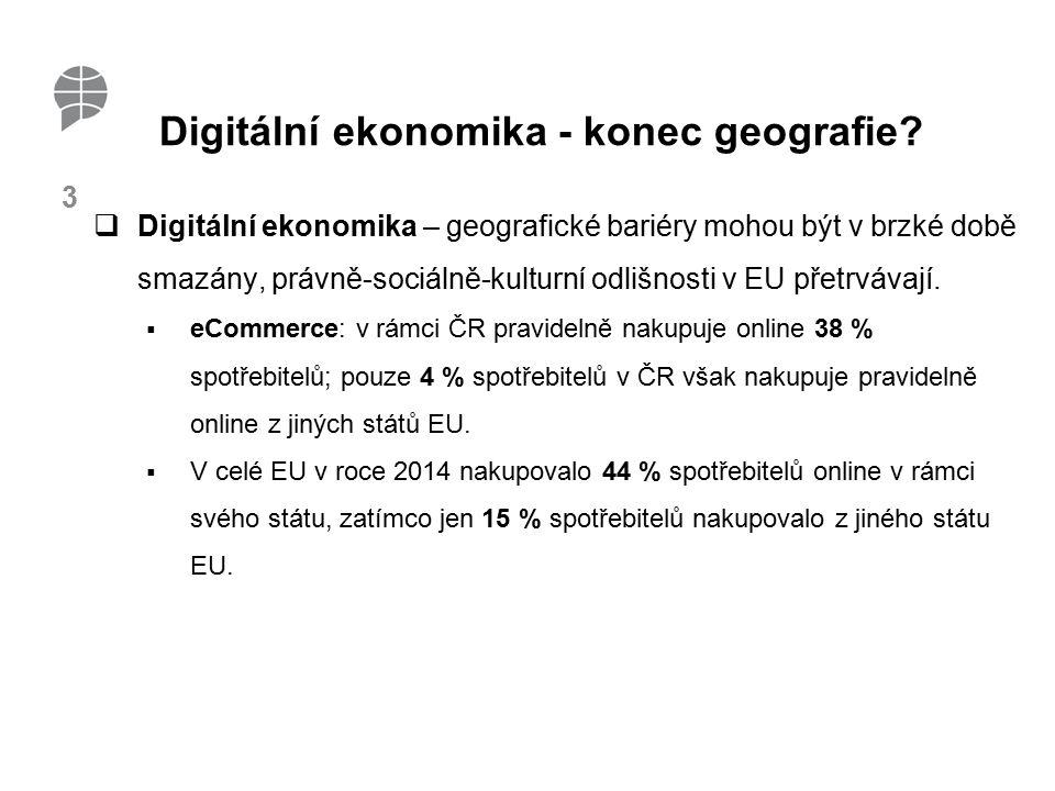 4 Vnitřní trh a eCommerce V rámci celé EU:  Spotřebitelé: důvěra při nákupu online 61 % (v rámci svého státu) x 38 % (z jiného státu EU)  Obchodníci: důvěra v online způsob prodeje 59 % (v rámci svého státu) x 31 % (do jiného státu EU)  Pouze 7 % malých a středních podniků prodává online přes hranice.