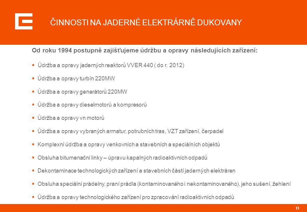 11 ČINNOSTI NA JADERNÉ ELEKTRÁRNĚ DUKOVANY Od roku 1994 postupně zajišťujeme údržbu a opravy následujících zařízení:  Údržba a opravy jaderných reaktorů VVER 440 ( do r.