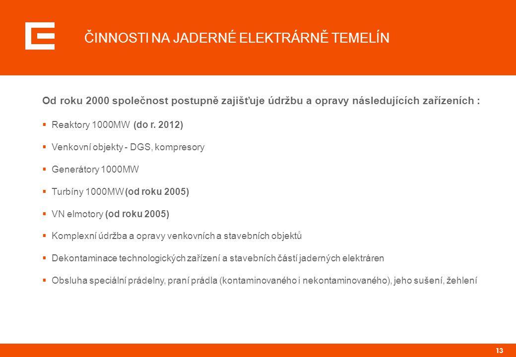 13 ČINNOSTI NA JADERNÉ ELEKTRÁRNĚ TEMELÍN Od roku 2000 společnost postupně zajišťuje údržbu a opravy následujících zařízeních :  Reaktory 1000MW (do r.