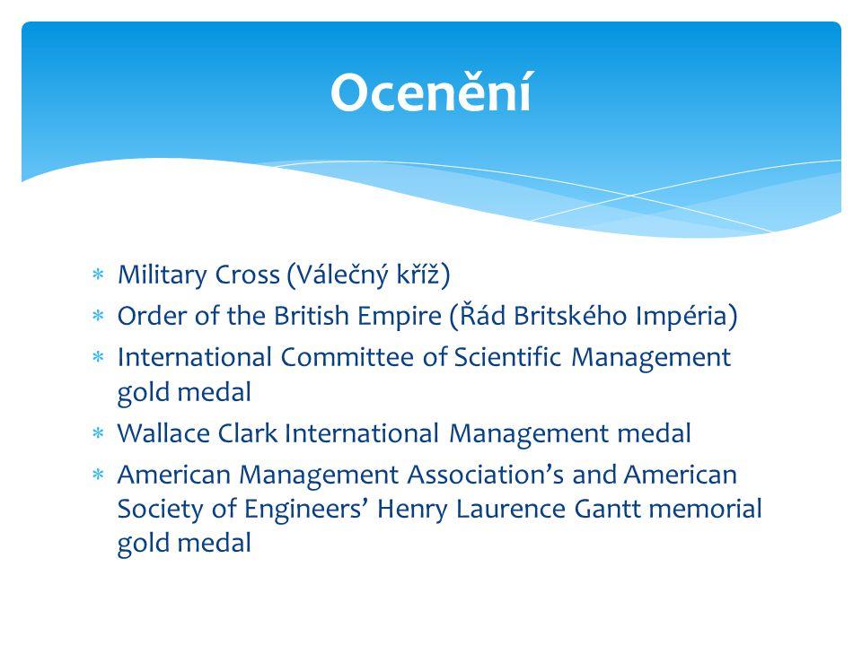  Military Cross (Válečný kříž)  Order of the British Empire (Řád Britského Impéria)  International Committee of Scientific Management gold medal 