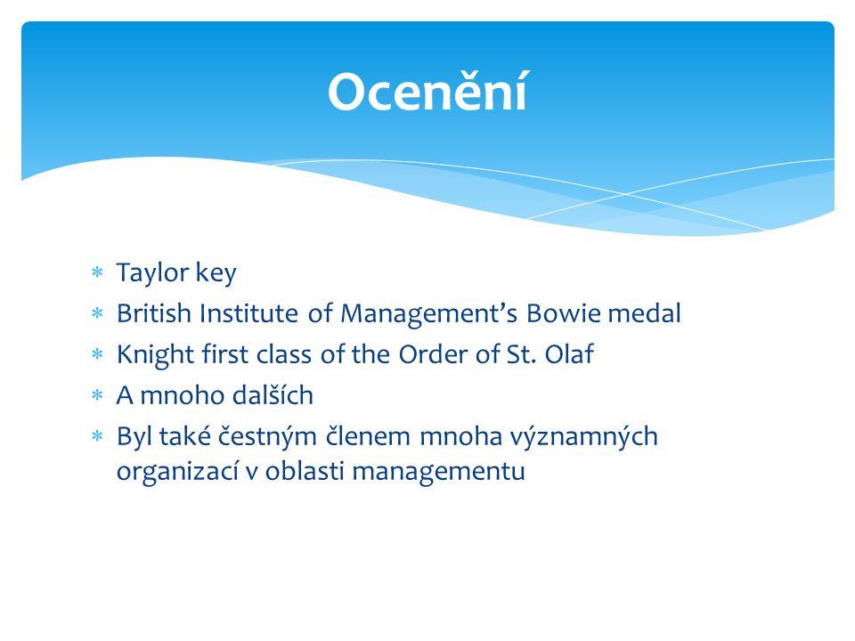 Taylor key  British Institute of Management's Bowie medal  Knight first class of the Order of St. Olaf  A mnoho dalších  Byl také čestným členem
