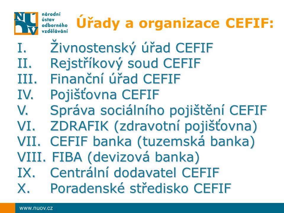 Úřady a organizace CEFIF: I.Živnostenský úřad CEFIF II.