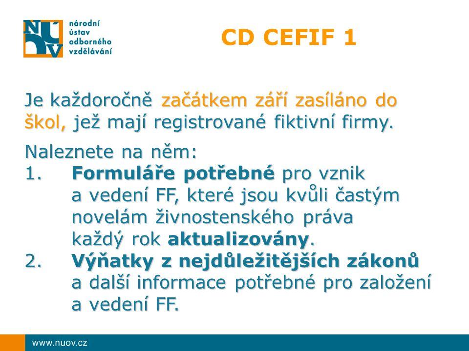 CD CEFIF 1 Je každoročně začátkem září zasíláno do škol, jež mají registrované fiktivní firmy.