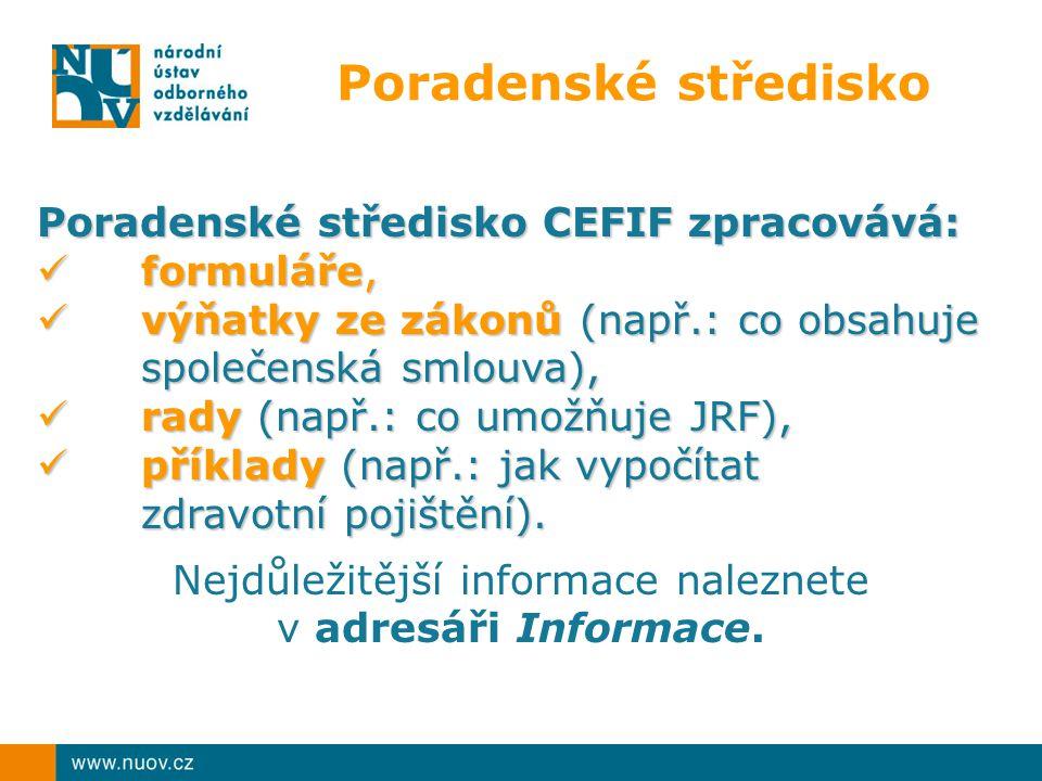 Poradenské středisko Poradenské středisko CEFIF zpracovává: formuláře, formuláře, výňatky ze zákonů (např.: co obsahuje společenská smlouva), výňatky ze zákonů (např.: co obsahuje společenská smlouva), rady (např.: co umožňuje JRF), rady (např.: co umožňuje JRF), příklady (např.: jak vypočítat zdravotní pojištění).