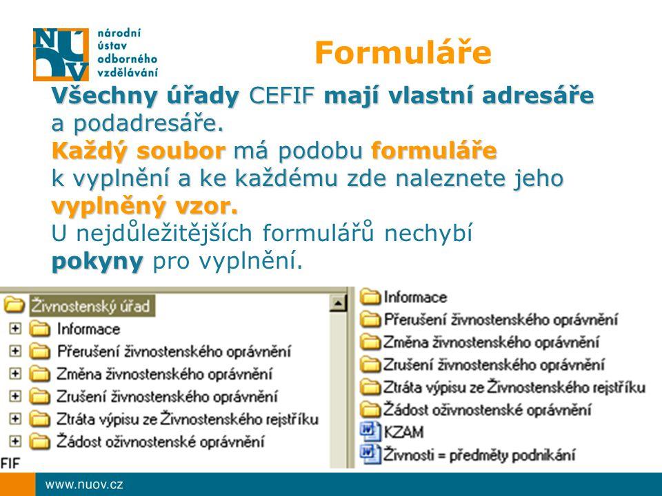 Formuláře Všechny úřady CEFIF mají vlastní adresáře a podadresáře.