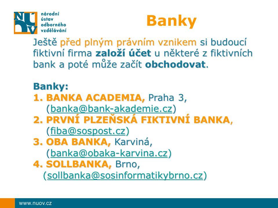 Banky Ještě před plným právním vznikem si budoucí fiktivní firma založí účet u některé z fiktivních bank a poté může začít obchodovat.