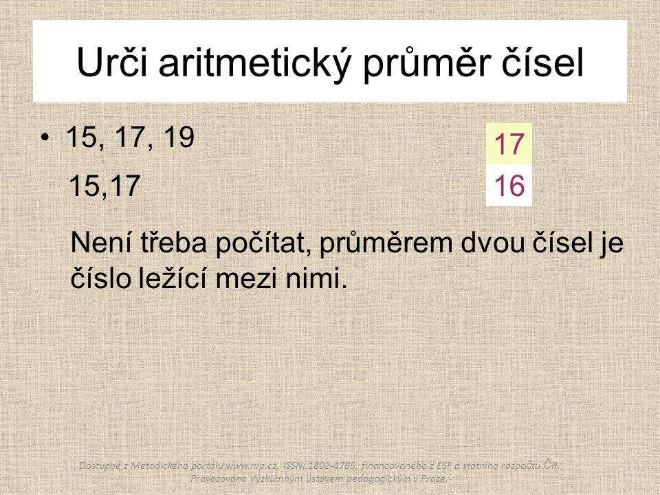 Urči aritmetický průměr čísel 15, 17, 19 15,17 17 16 Není třeba počítat, průměrem dvou čísel je číslo ležící mezi nimi. Dostupné z Metodického portálu