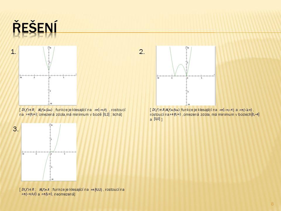 8  ; ; funkce je klesající na, rostoucí na ; omezená zdola,má minimum v bodě ; lichá] 1.2.