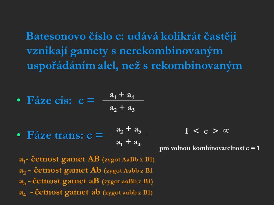 Batesonovo číslo c: udává kolikrát častěji vznikají gamety s nerekombinovaným uspořádáním alel, než s rekombinovaným Fáze cis: c = Fáze trans: c =Fáze