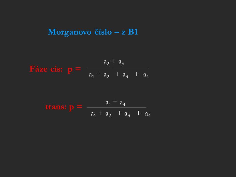 Fáze cis: p = a 2 + a 3 a 1 + a 2 + a 3 + a 4 trans: p = a 1 + a 4 a 1 + a 2 + a 3 + a 4 Morganovo číslo – z B1