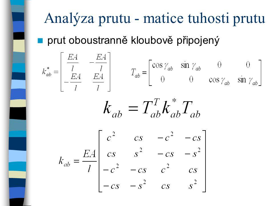 Analýza prutové soustavy matice tuhosti soustavy K zatěžovací vektor F = S = (...