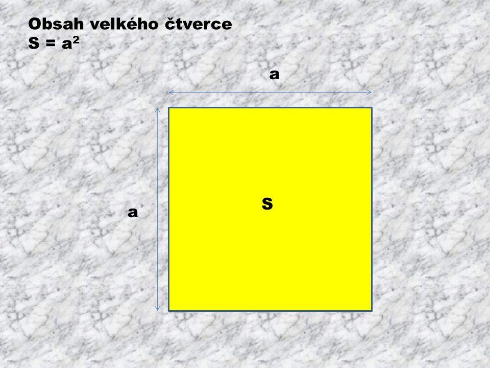 S1S1 S3S3 a - b b b S4S4 S2S2 Obsahy menších obrazců S 1 = (a – b) 2 S 2 = a.b S 3 = a.b S 4 = b 2 a a