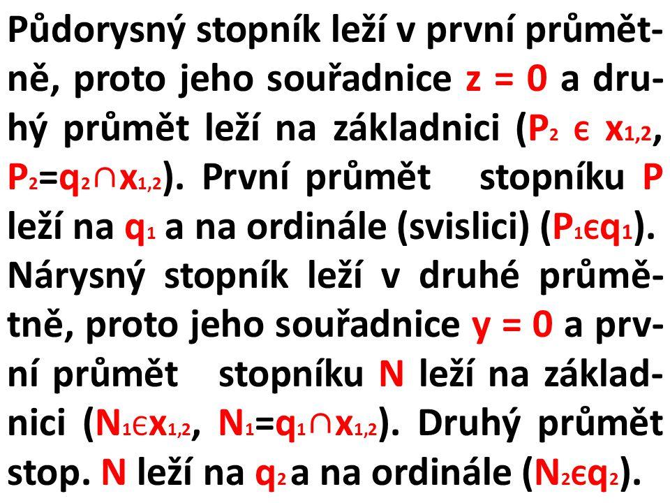 """Úkol 4: Nakreslete na základě předcházejících informací v Mongeově promítání na dvě průmětny sdružené průměty nárysného stopníku """"N přímky q = AB[A(2, 2, 6), B(-4, 8, 2)]."""