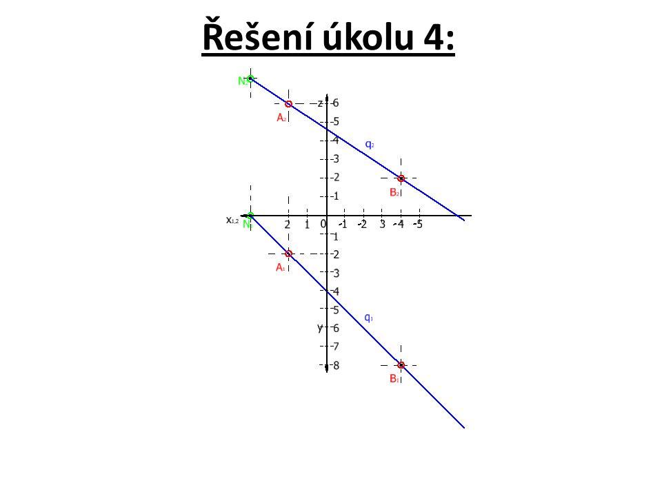"""Úkol 5: Nakreslete na základě předcházejících informací v Mongeově promítání na dvě průmětny sdružené průměty půdorysného stopníku """"P přímky q = AB[A(2, 2, 6), B(-4, 8, 2)]."""