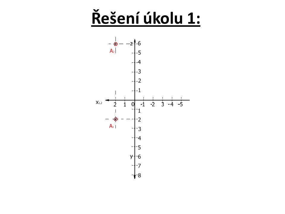 Úkol 2: Nakreslete na základě předcházejících informací v Mongeově promítání na dvě průmětny sdružené průměty dalšího bodu A (x = -4, y = 8, z = 2).