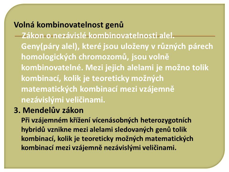 Volná kombinovatelnost genů Zákon o nezávislé kombinovatelnosti alel. Geny(páry alel), které jsou uloženy v různých párech homologických chromozomů, j