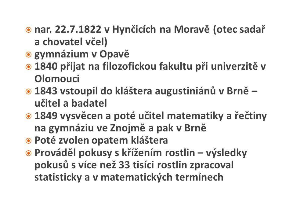  nar. 22.7.1822 v Hynčicích na Moravě (otec sadař a chovatel včel)  gymnázium v Opavě  1840 přijat na filozofickou fakultu při univerzitě v Olomouc