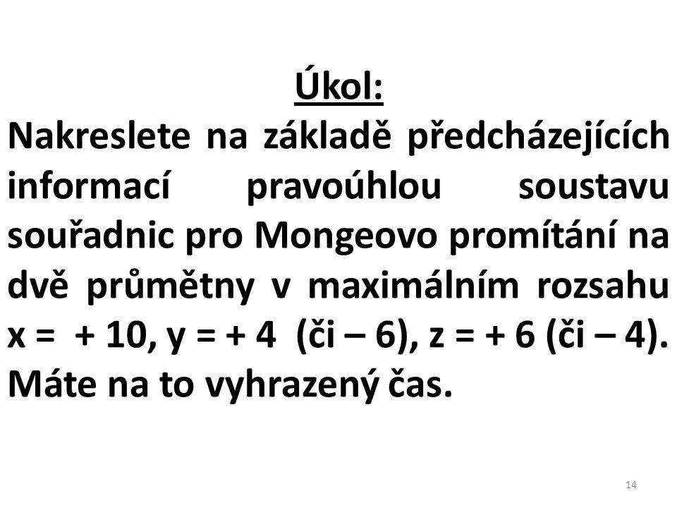 Úkol: Nakreslete na základě předcházejících informací pravoúhlou soustavu souřadnic pro Mongeovo promítání na dvě průmětny v maximálním rozsahu x = +