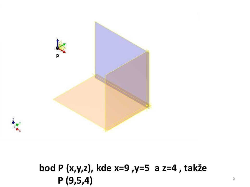 P bod P (x,y,z), kde x=9,y=5 a z=4, takže P (9,5,4) 5