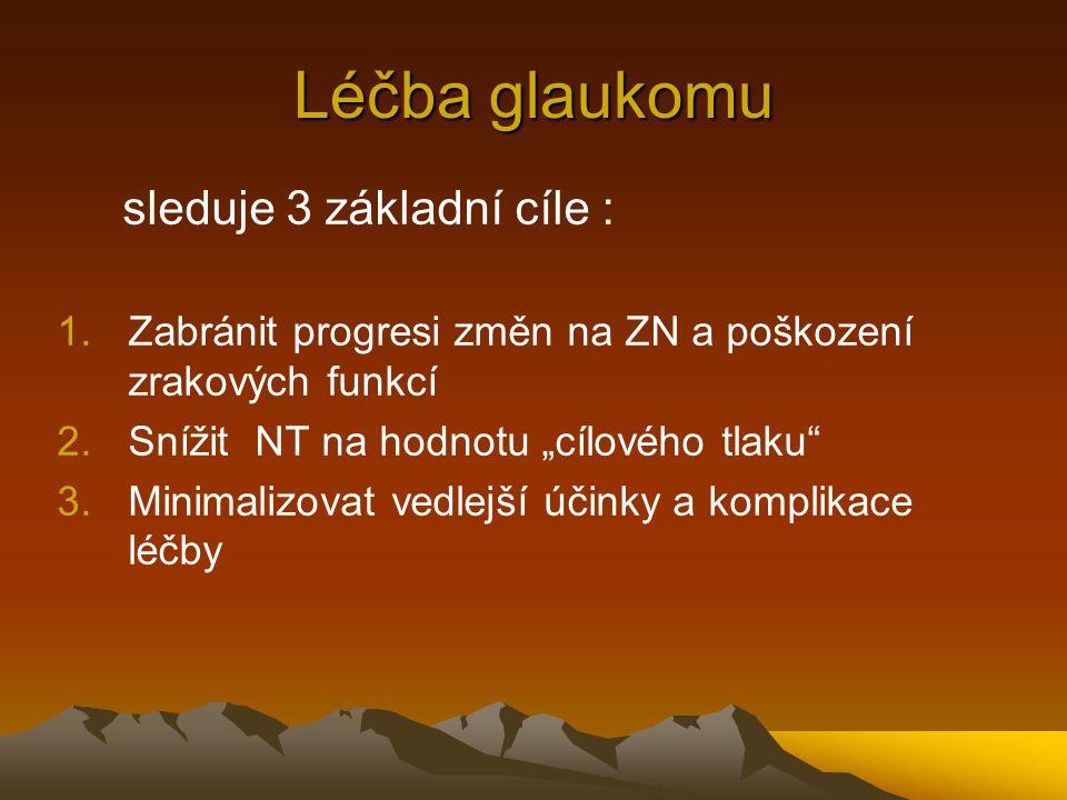 """Léčba glaukomu sleduje 3 základní cíle : 1.Zabránit progresi změn na ZN a poškození zrakových funkcí 2.Snížit NT na hodnotu """"cílového tlaku"""" 3.Minimal"""