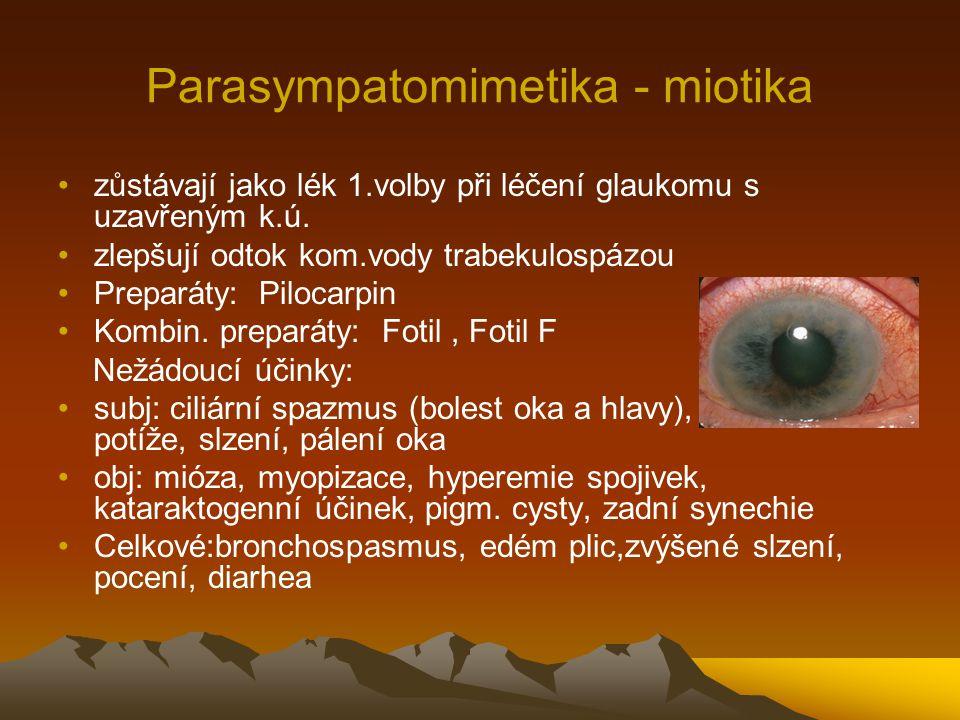 Parasympatomimetika - miotika zůstávají jako lék 1.volby při léčení glaukomu s uzavřeným k.ú. zlepšují odtok kom.vody trabekulospázou Preparáty: Piloc