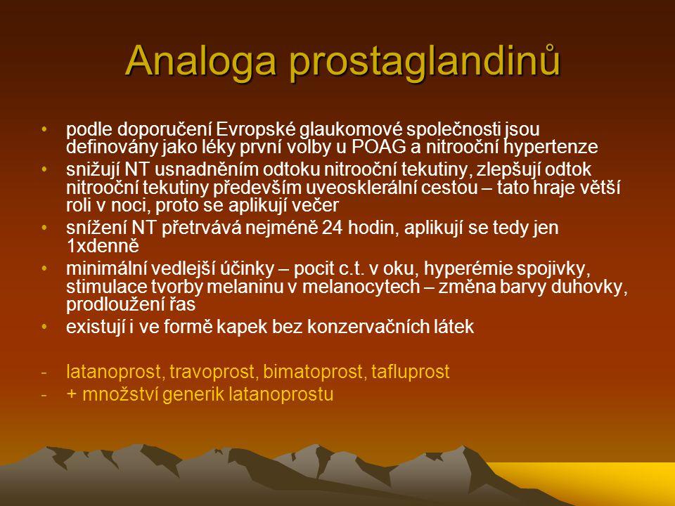 Analoga prostaglandinů Analoga prostaglandinů podle doporučení Evropské glaukomové společnosti jsou definovány jako léky první volby u POAG a nitroočn