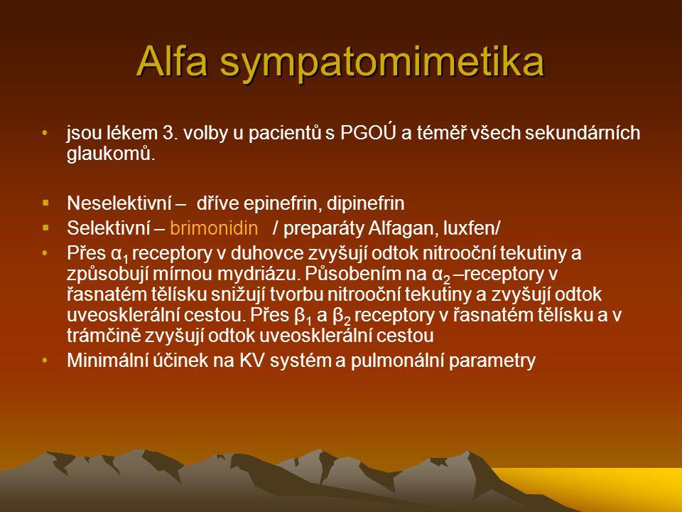 Alfa sympatomimetika jsou lékem 3. volby u pacientů s PGOÚ a téměř všech sekundárních glaukomů.  Neselektivní – dříve epinefrin, dipinefrin  Selekti