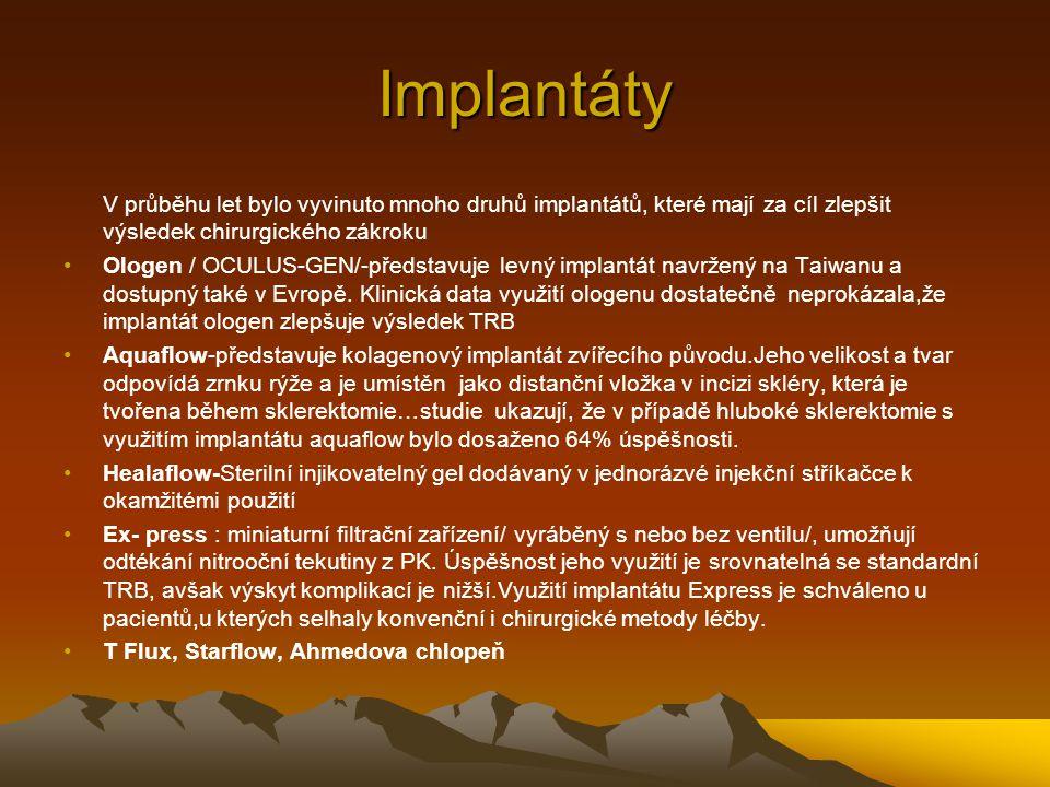 Implantáty V průběhu let bylo vyvinuto mnoho druhů implantátů, které mají za cíl zlepšit výsledek chirurgického zákroku Ologen / OCULUS-GEN/-představu