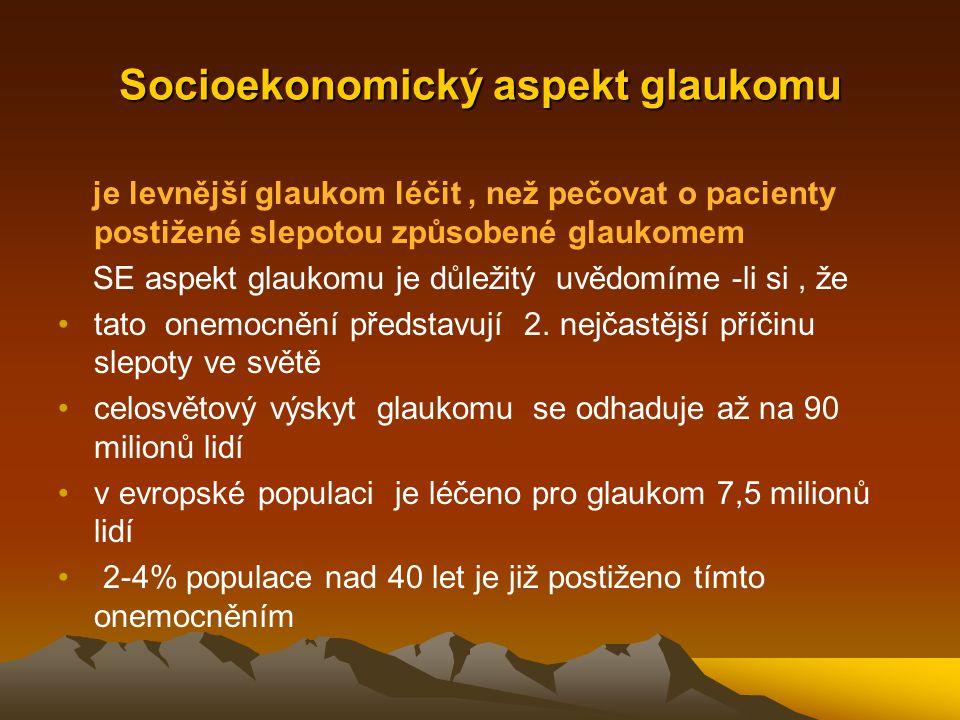Socioekonomický aspekt glaukomu je levnější glaukom léčit, než pečovat o pacienty postižené slepotou způsobené glaukomem SE aspekt glaukomu je důležit