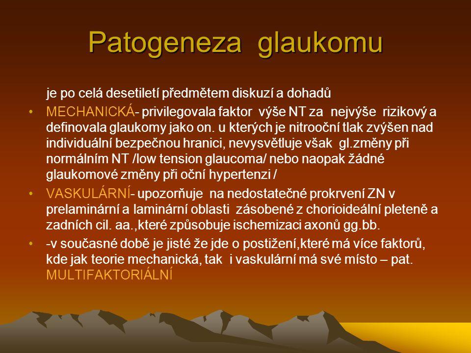Historický přehled vývoje konservativní léčby glaukomu 1876 cholinergica 1950 sympatikomimetika 1976 beta blokátory 1994 prostaglandiny 1995 lok.