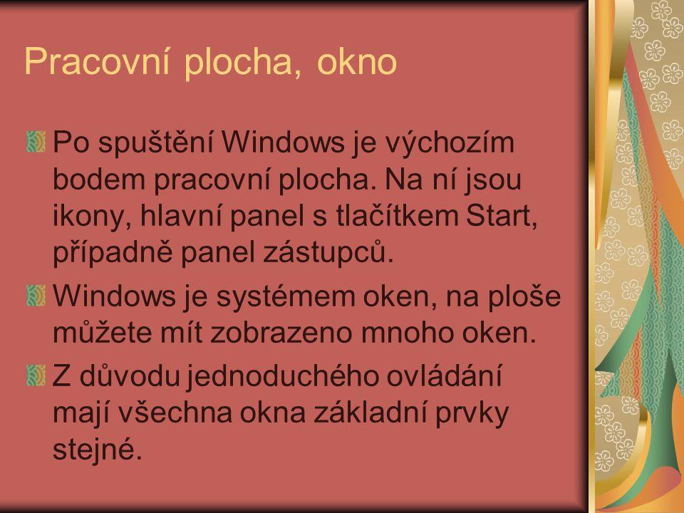 Pracovní plocha, okno Po spuštění Windows je výchozím bodem pracovní plocha.