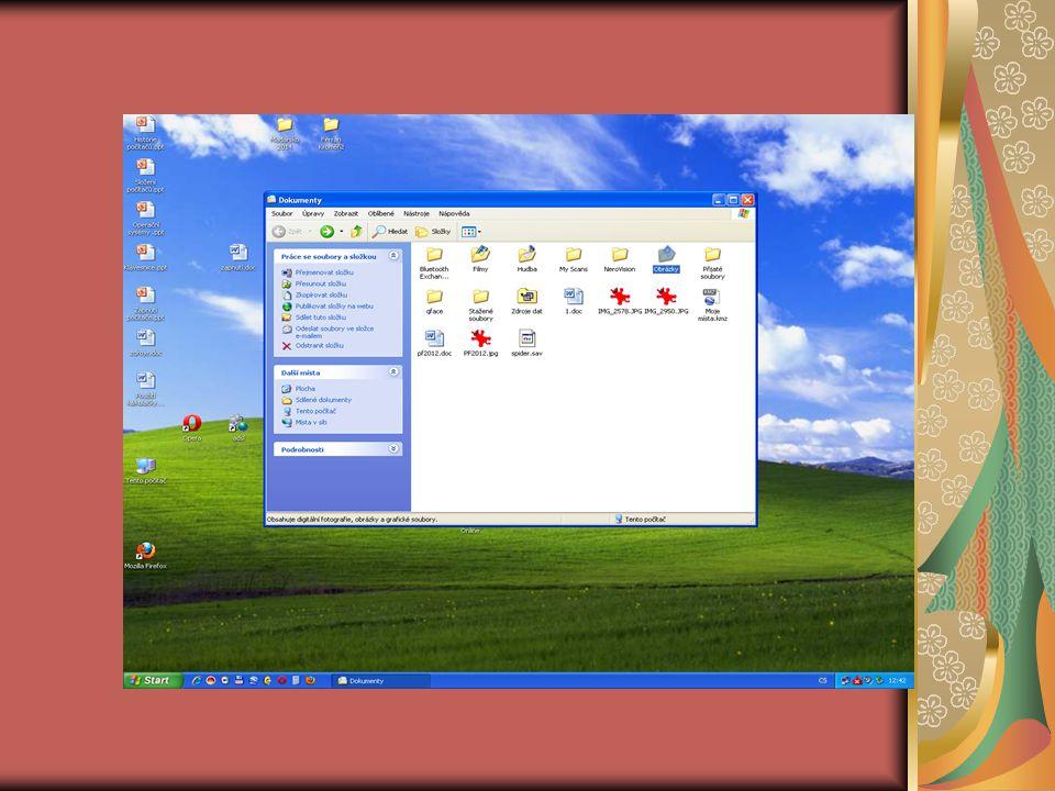 Operace se složkami a soubory Průzkumník: Klepněte na tlačítko Start V zobrazení na položku Počítač Zobrazí se seznam všech disků a jednotek jež jsou k dispozici, chcete-li se podívat na obsah klepněte dvakrát levým tlačítkem myši Zobrazí se další okno tentokrát se složkami a soubory, které se na zvoleném disku nacházejí