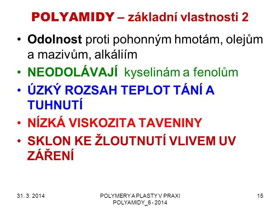POLYAMIDY – základní vlastnosti 2 31. 3. 2014POLYMERY A PLASTY V PRAXI POLYAMIDY_6 - 2014 15 Odolnost proti pohonným hmotám, olejům a mazivům, alkálií
