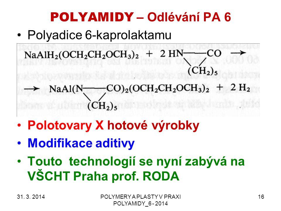 POLYAMIDY – Odlévání PA 6 31. 3. 2014POLYMERY A PLASTY V PRAXI POLYAMIDY_6 - 2014 16 Polyadice 6-kaprolaktamu Polotovary X hotové výrobky Modifikace a