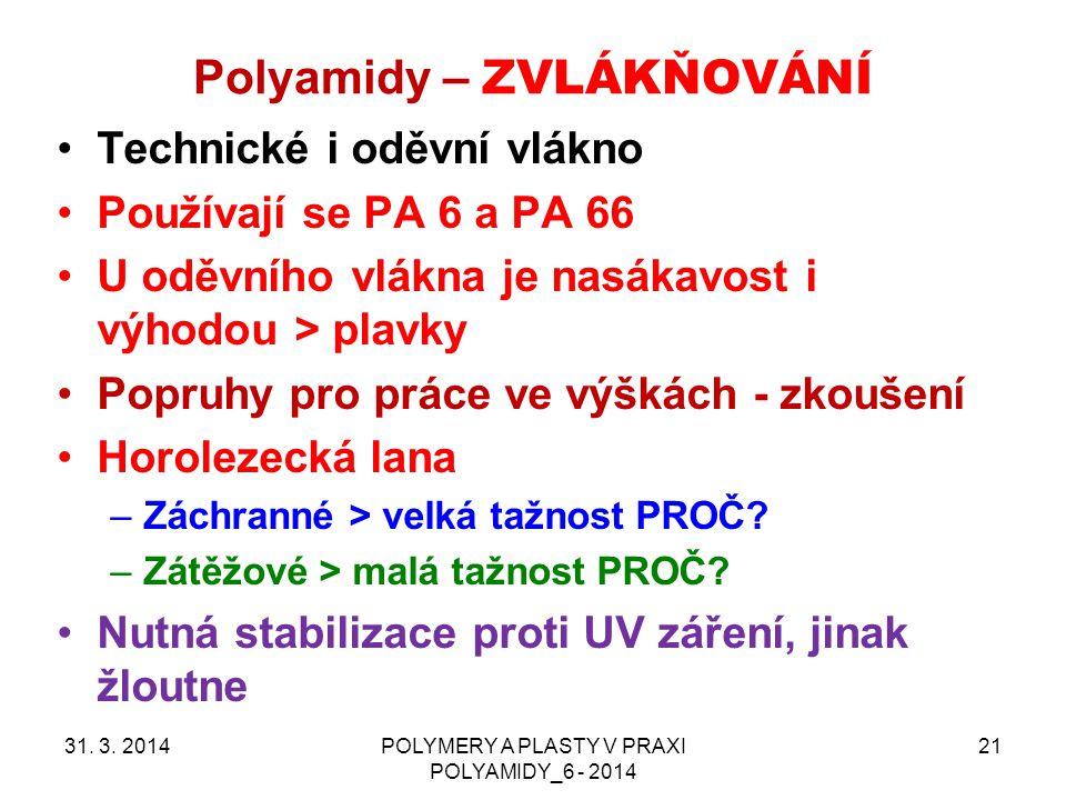 Polyamidy – ZVLÁKŇOVÁNÍ 31. 3. 2014POLYMERY A PLASTY V PRAXI POLYAMIDY_6 - 2014 21 Technické i oděvní vlákno Používají se PA 6 a PA 66 U oděvního vlák