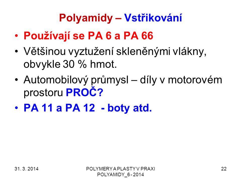 Polyamidy – Vstřikování 31. 3. 2014POLYMERY A PLASTY V PRAXI POLYAMIDY_6 - 2014 22 Používají se PA 6 a PA 66 Většinou vyztužení skleněnými vlákny, obv