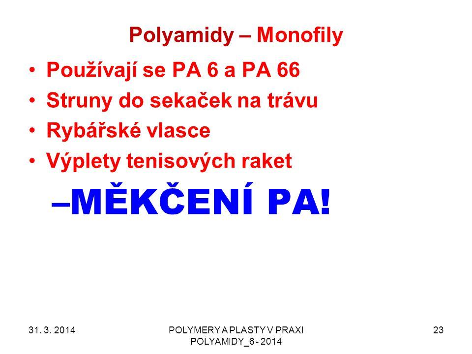 Polyamidy – Monofily 31. 3. 2014POLYMERY A PLASTY V PRAXI POLYAMIDY_6 - 2014 23 Používají se PA 6 a PA 66 Struny do sekaček na trávu Rybářské vlasce V