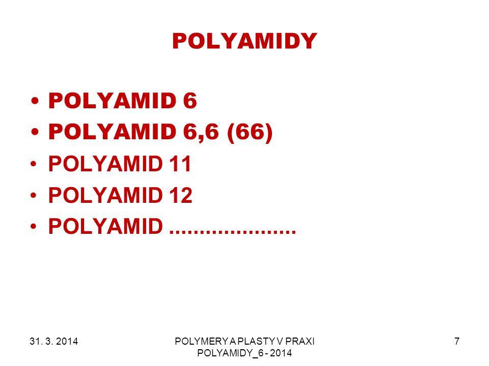 POLYAMIDY 31. 3. 2014POLYMERY A PLASTY V PRAXI POLYAMIDY_6 - 2014 7 POLYAMID 6 POLYAMID 6,6 (66) POLYAMID 11 POLYAMID 12 POLYAMID.....................