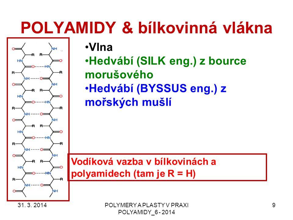 POLYAMIDY & bílkovinná vlákna 31. 3. 2014POLYMERY A PLASTY V PRAXI POLYAMIDY_6 - 2014 9 Vlna Hedvábí (SILK eng.) z bource morušového Hedvábí (BYSSUS e