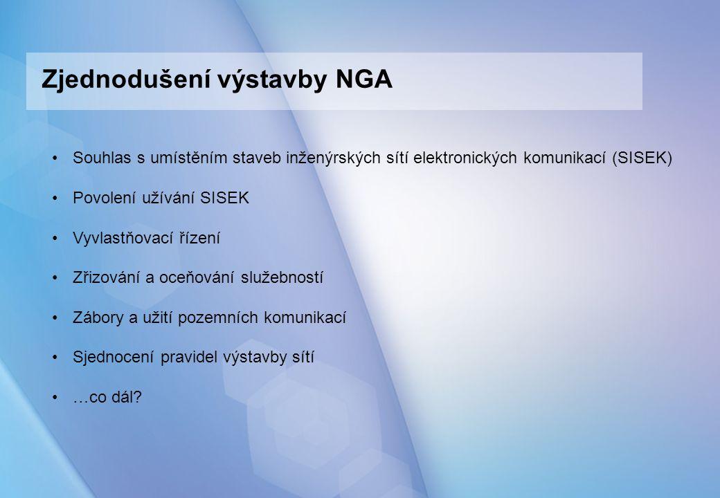 Zjednodušení výstavby NGA Souhlas s umístěním staveb inženýrských sítí elektronických komunikací (SISEK) Povolení užívání SISEK Vyvlastňovací řízení Zřizování a oceňování služebností Zábory a užití pozemních komunikací Sjednocení pravidel výstavby sítí …co dál