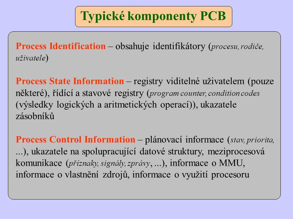 Typické komponenty PCB Process Identification – obsahuje identifikátory ( procesu, rodiče, uživatele ) Process State Information – registry viditelné uživatelem (pouze některé), řídící a stavové registry ( program counter, condition codes (výsledky logických a aritmetických operací)), ukazatele zásobníků Process Control Information – plánovací informace ( stav, priorita,...), ukazatele na spolupracující datové struktury, meziprocesová komunikace ( příznaky, signály, zprávy,...), informace o MMU, informace o vlastnění zdrojů, informace o využití procesoru