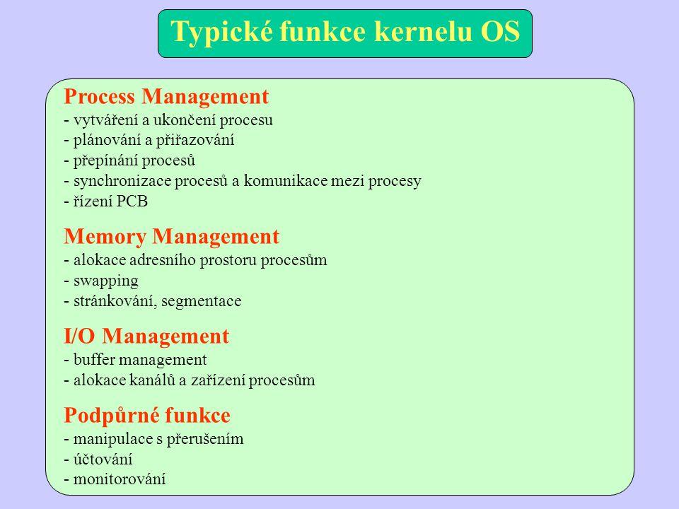 Process Management - vytváření a ukončení procesu - plánování a přiřazování - přepínání procesů - synchronizace procesů a komunikace mezi procesy - řízení PCB Memory Management - alokace adresního prostoru procesům - swapping - stránkování, segmentace I/O Management - buffer management - alokace kanálů a zařízení procesům Podpůrné funkce - manipulace s přerušením - účtování - monitorování Typické funkce kernelu OS