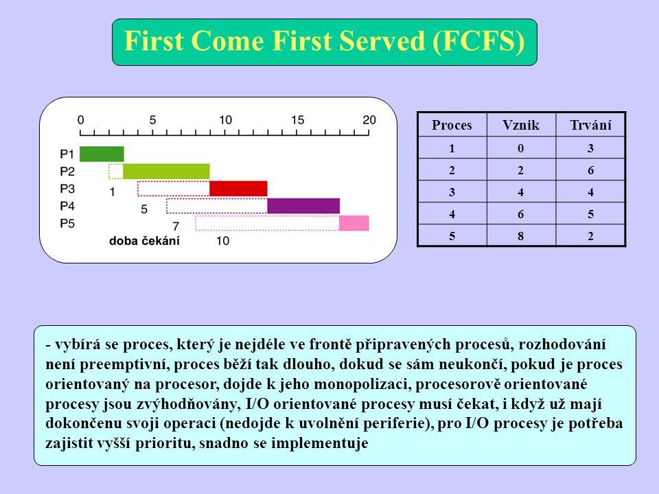 First Come First Served (FCFS) ProcesVznikTrvání 103 226 344 465 582 - vybírá se proces, který je nejdéle ve frontě připravených procesů, rozhodování není preemptivní, proces běží tak dlouho, dokud se sám neukončí, pokud je proces orientovaný na procesor, dojde k jeho monopolizaci, procesorově orientované procesy jsou zvýhodňovány, I/O orientované procesy musí čekat, i když už mají dokončenu svoji operaci (nedojde k uvolnění periferie), pro I/O procesy je potřeba zajistit vyšší prioritu, snadno se implementuje